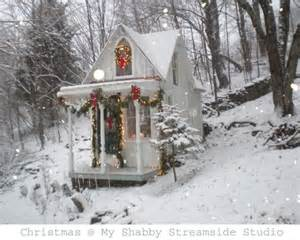 little white cottage in the woods decorated for christmas cottages pinterest cottage in