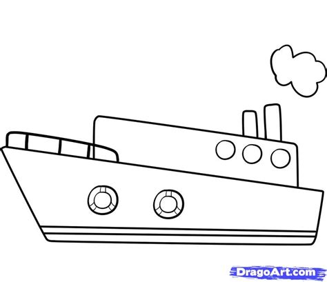house boat drawing picture how to draw a ship step by step boats transportation