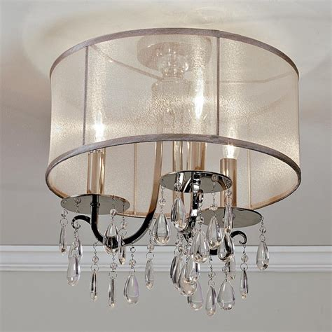 Ceiling Light Shade With Crystals by Modern Glam Shaded Ceiling Light 3 Light L Shades By Shades Of Light