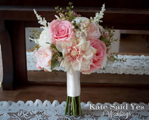 Garden Wedding Flowers Blush Pink And Ivory Dahlia Garden And Ranunculus Garden Wedding Bouquet Silk Wedding