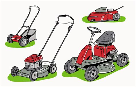red lawn mower collection hand drawn vector illustration