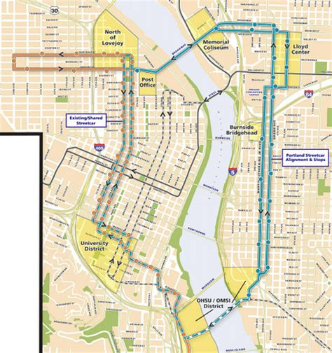 portland oregon streetcar map eastside loop map map by portland streetcar inc by