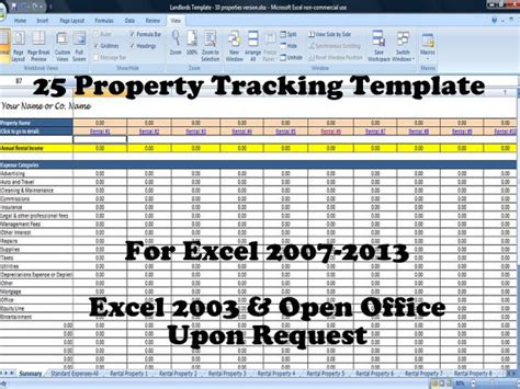 Rental Property Spreadsheet Template For 25 Properties Business Time Saving Templates Property Management Template