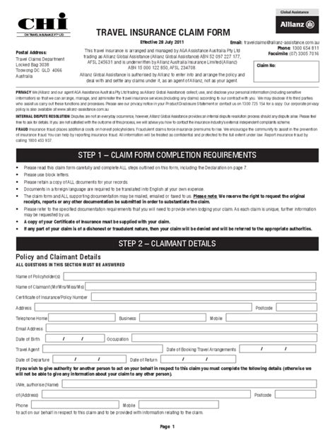 Resume Afsl Application Travel Insurance Claim Form Australia Free