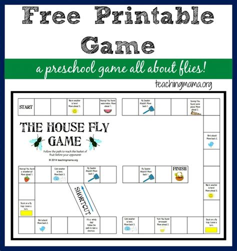 printable toddler board games the house fly game