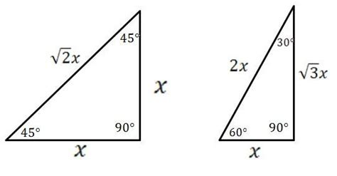 mathcounts notes special right triangles 30 60 90 and 45