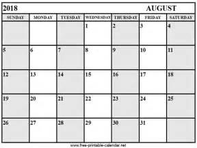 August 2018 Calendar Us Calendar August 2018 Print Calendars From