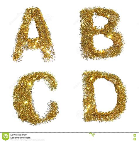letters a b c d of golden glitter sparkle on white