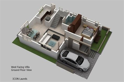 3d ground floor plan 30x40 north facing house plan with pooja room