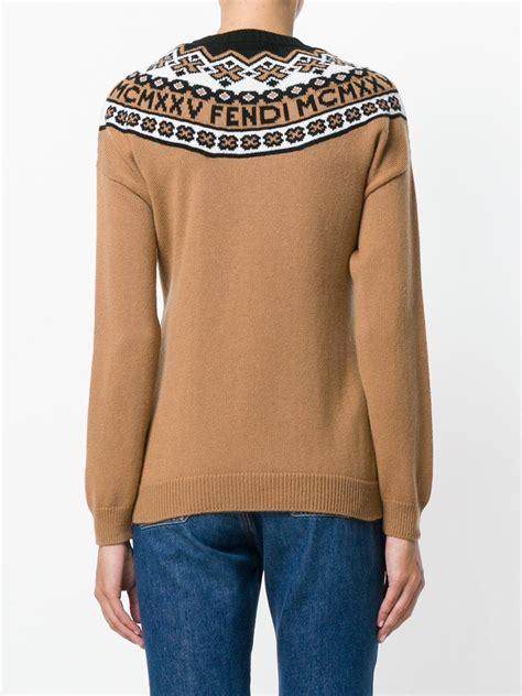 Sweater Sket Logo 1 lyst fendi crewneck logo sweater in brown