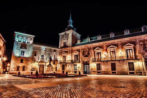 fondos de pantalla espana casa madrid plaza de la villa noche hotel ciudades descargar imagenes