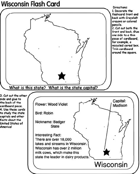Us State Flash Cards Wisconsin Crayola Ca Wisconsin Coloring Pages