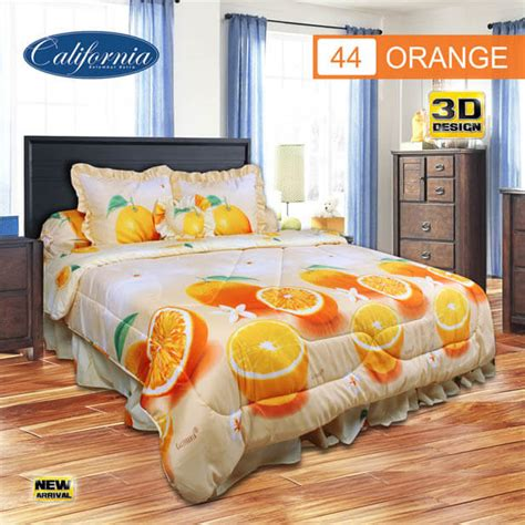 California Sprei King Orange bedcover set king 180x200 california ukuran king set