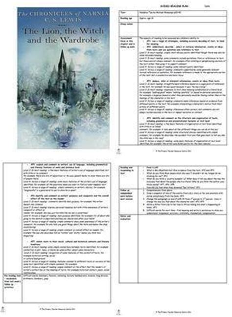 Wardrobe Lesson Plans guided reading plans the the witch and the wardrobe