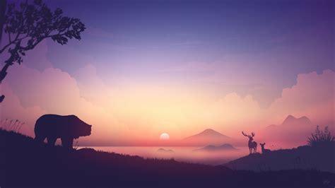wallpaper sunrise morning bear mountains foggy