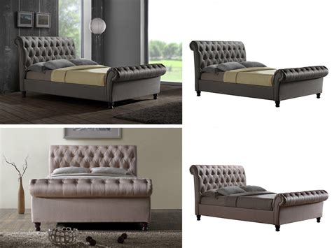 Chesterfield Sleigh Bed Birlea Chesterfield Sleigh Bed Wheat Or Grey King King Ebay