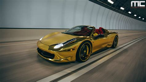 gold ferrari 458 italia mc customs gold ferrari 458 italia spider 183 vellano