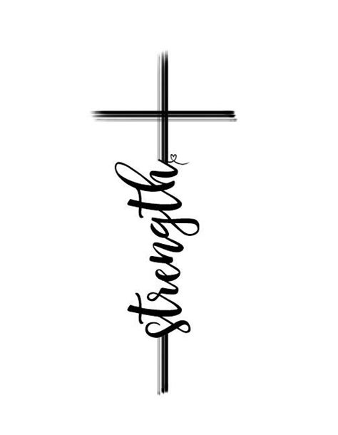cross tattoo with strength lettering