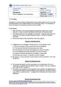 protocol deviation form template deviation sop