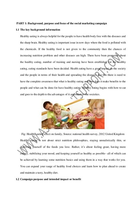 Essay About Healthy Food by Social Marketing Caign Essay Sle From