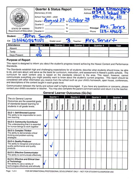 Elementary Report Card Template Free by Elementary Report Card Template 28 Images Sle Of