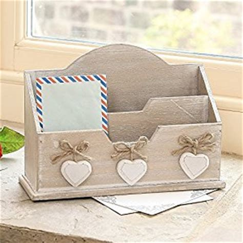 Shabby Chic Desk Accessories Shabby Chic Wooden Letter Desk Tidy With White Hanging Hearts 27 X 18 5 X 9 5cm Co Uk