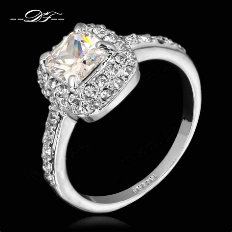 get cheap white gold princess cut engagement rings