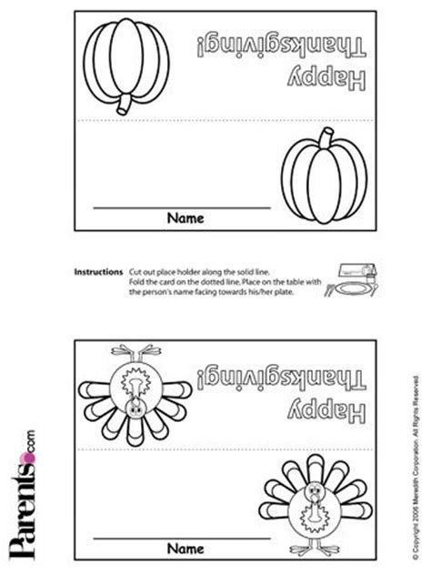 Free Thanksgiving Placecards Stickers More For Kids Thanksgiving Place Cards Template