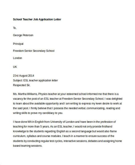 format of application letter of a teacher 40 job application letters format free premium templates