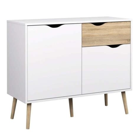 White Sideboard Table by Tvilum Diana 2 Door Sideboard With 1 Drawer In White Oak