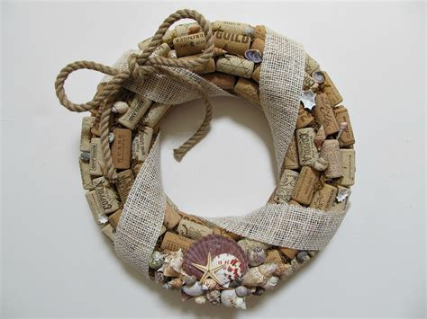 shell and wine cork wreath burlap ribbon rope bow