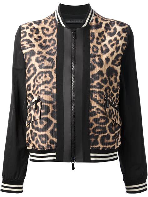 Jaket Print Black lyst ermanno scervino leopard print bomber jacket in black