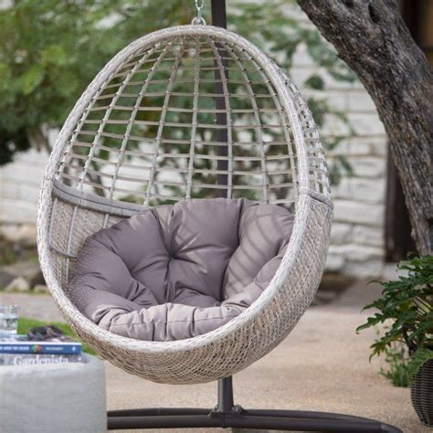 belham living palma resin wicker hanging egg chair