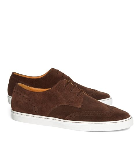 suede sneakers mens brothers suede wingtip sneakers in brown for lyst