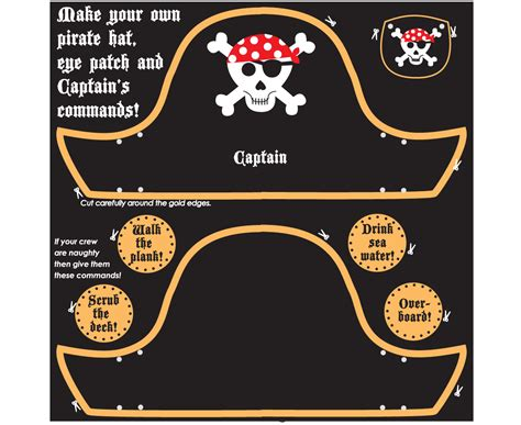 pirate hat template to print pirate hat and eye patch craft kit believe you can