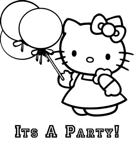 coloring activity pages hello kitty quot it s a party