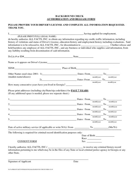 Doc Background Check Doc 650943 Background Check Authorization Form Background Check Authorization Form 5