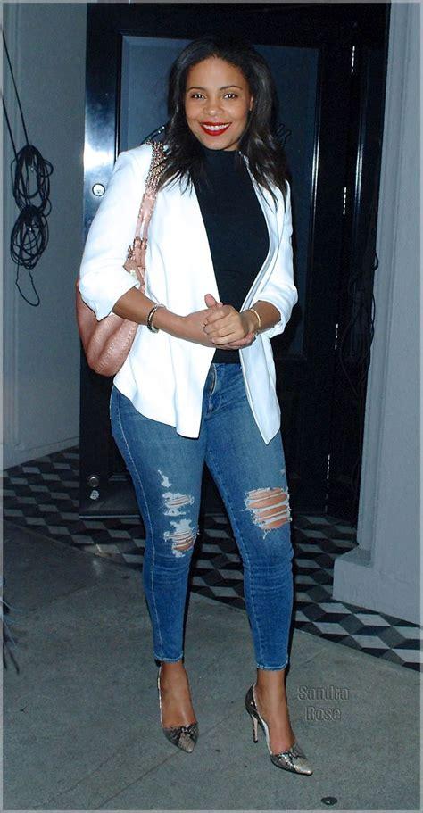 michael k williams sanaa lathan sanaa lathan in distress jeans and blazer fashion frenzy