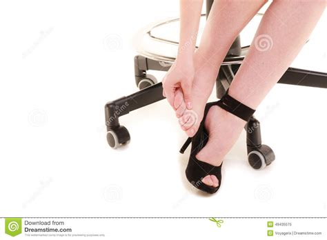work stoppage tired businesswoman massaging stock
