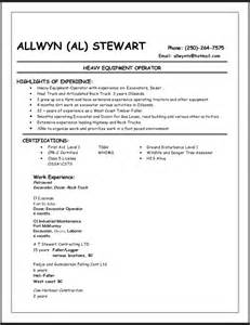 Heavy Equipment Operator Sle Resume by Sle Resume Format January 2016