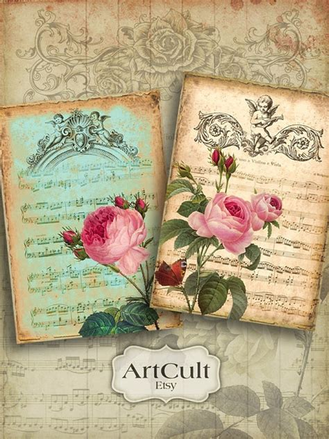 printable vintage greeting cards printable download partitura digital collage sheet 4