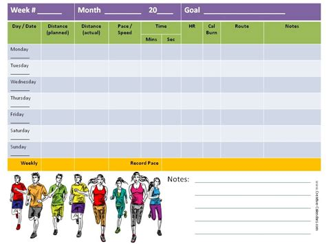 printable calendar running running log