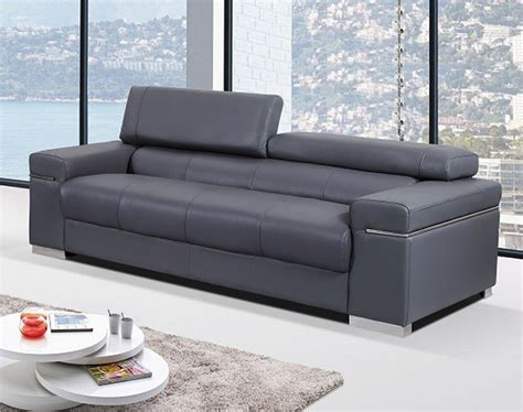 Contemporary Sofa Upholstered In Grey Thick Italian Modern Design Leather Sofa