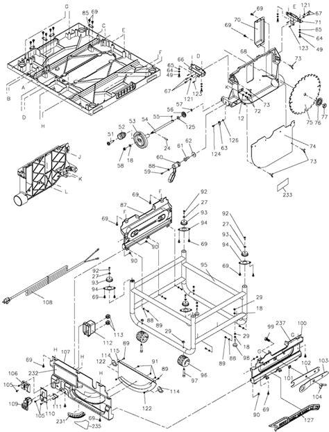 dewalt dw745 portable table saw parts (type 1) Parts