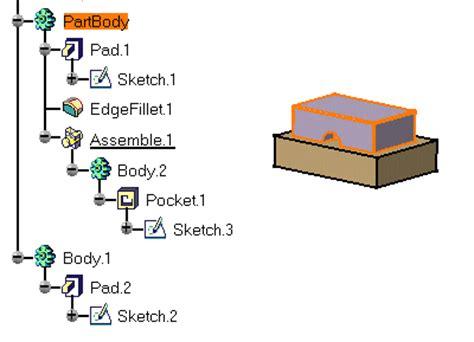 catia v5 video tutorial 2 sketch pad pocket pattern assembling bodies