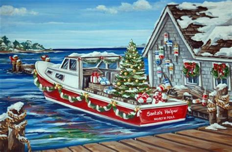 nautical cape cod christmas cards lobster boat card greetings of the season and best wishes for the new year