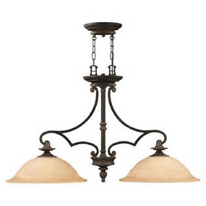 Traditional Island Lighting Rubbed Bronze Kitchen Island Pendant With Mocha Glass Shades