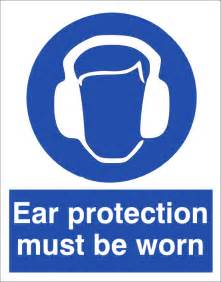 Wall Sticker Printing ear protection must be worn mandatory signs 400x600mm