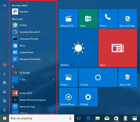 what open on what s new in the start menu for windows 10 anniversary