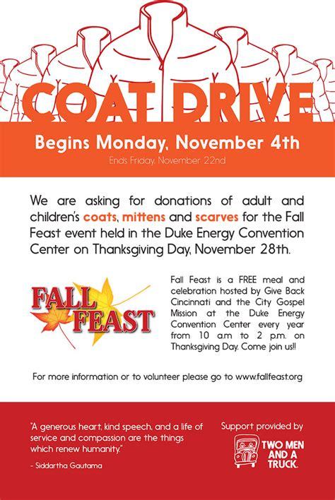 New Fall Feast Coat Drive Poster Drive Templates Brochure
